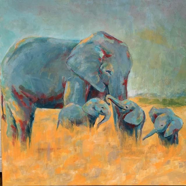 """""""Elefantkärlek"""" Akryl 80x80cm"""